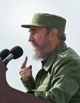 Cuban President Fidel Castro delivers a