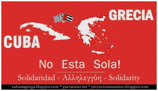 Cuba Grecia Solidarity Banner